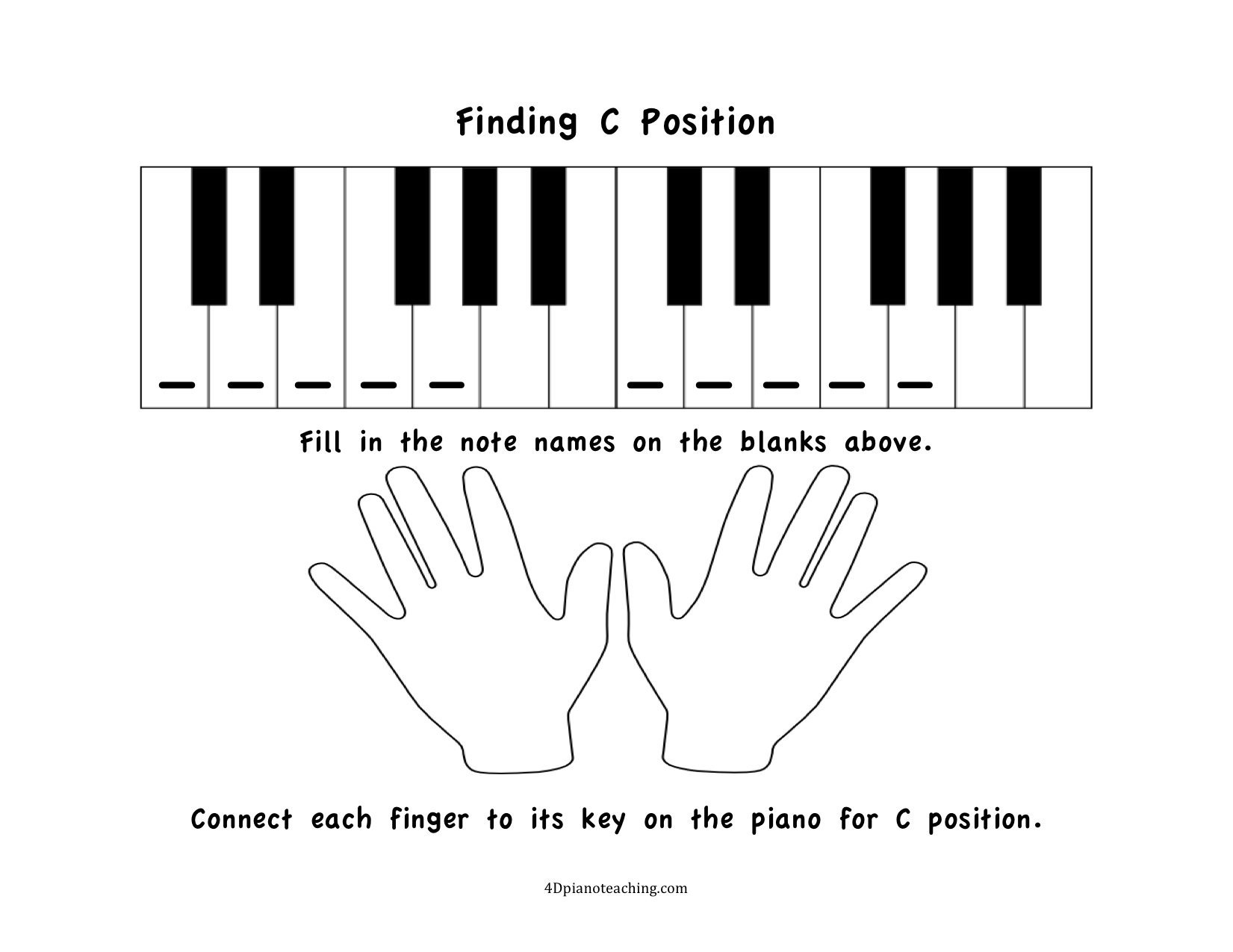 image regarding Piano Keyboard Printable named No cost Printables: C Place Worksheets -