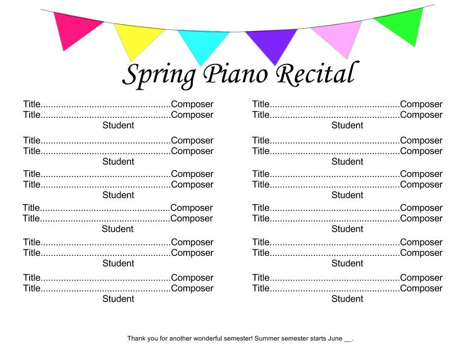 recital program template word