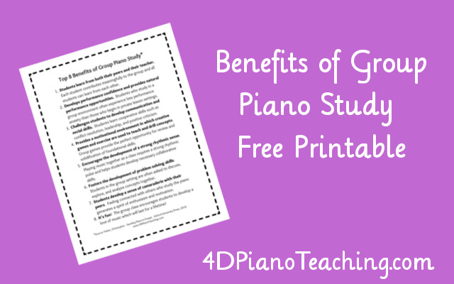 Benefits of Group Piano – Free Printable