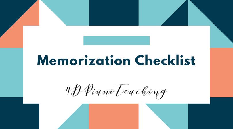 Memorization Checklist